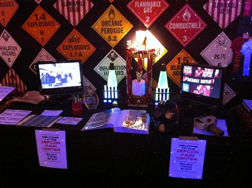 Inside the Defcon Pain Center, featuring the Deathmatch trophy.