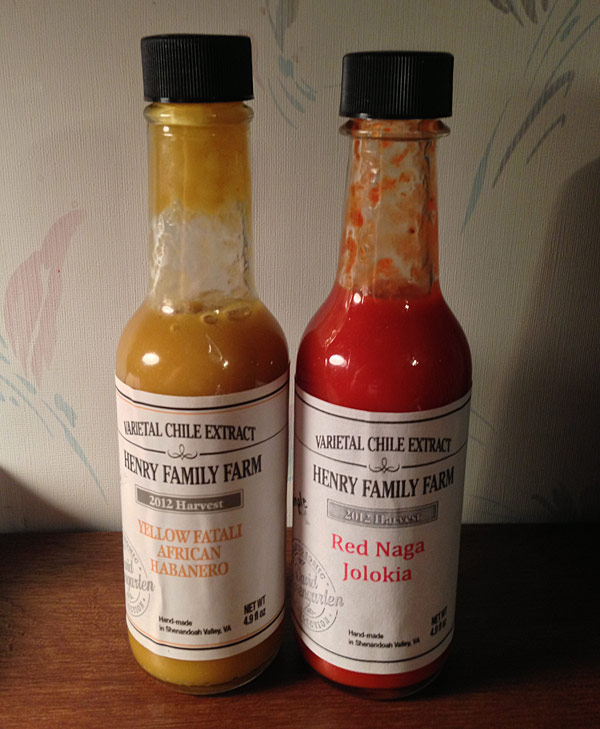 Henry Family Farm Varietal Chile Extracts Red Naga Jolokia and Yellow Fatali