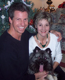 Dan and Cherie Houston, with Cayenne the Dog
