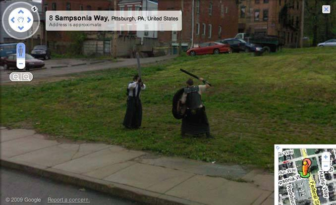 Two swordsmen goin' at it on Google Street View