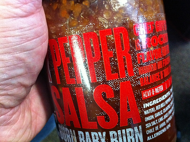 >Guy Fieri Salsa Labels - what is that white blotchy stuff?