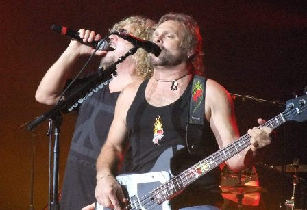 Michael Anthony and Sammy Hagar onstage