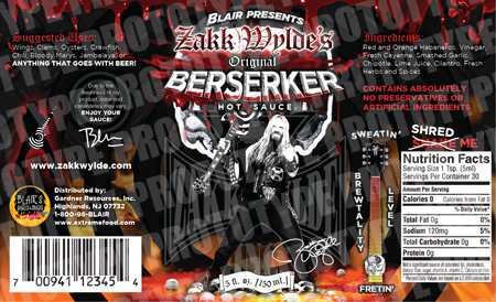 Berserker Brand Label - Blair's and Zakk Wylde Join Forces For Berserker Brand Hot Sauces