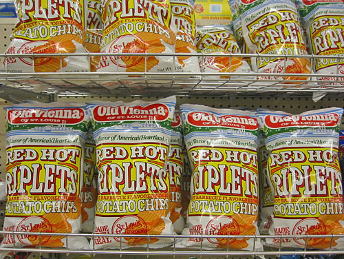 Red Hot Riplets Potato Chips on Rack