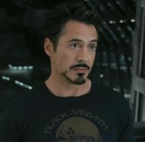 Tony Stark in Black Sabbath Shirt