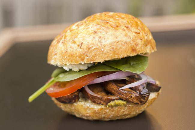 BBQ Portobello Mushroom Burgers with lemon